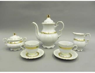 Сервиз кофейный мокко 15 предметов 6 персон Leander Соната Золотая лента декор 1239