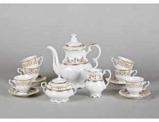 Сервиз кофейный мокко 15 предметов 6 персон Leander Соната Золотой орнамент декор 1373