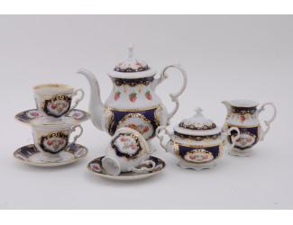Сервиз кофейный 15 предметов 6 персон 0,15л Leander Соната Мелкие цветы (Кобальт) декор 0440