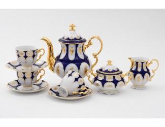 Сервиз кофейный 15 предметов 6 персон 0,15л Leander Соната Золотой цветок кобальт декор 0443 07160714-0443