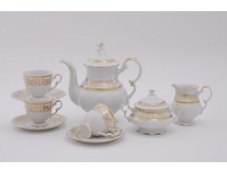 Сервиз кофейный 15 предметов 6 персон 0,15л Leander Соната Золотой орнамент декор 1373
