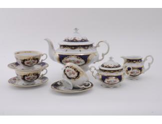 Сервиз чайный 27 предметов 12 персон Leander Соната Мелкие цветы (Кобальт) декор 0440