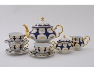 Сервиз чайный 27 предметов 12 персон Leander Соната Золотой цветок кобальт декор 0443