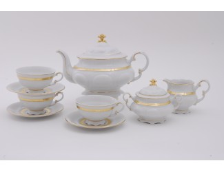 Сервиз чайный 15 предметов 6 персон Leander Соната Золотая лента декор 1239