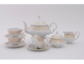 Сервиз чайный 15 предметов 6 персон Leander Соната Золотой орнамент декор 1373 07160725-1373