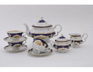Сервиз чайный 27 предметов 12 персон Leander Соната Золотая роза, кобальт декор 1457