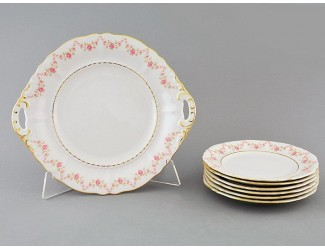 Сервиз для торта 7 предметов Leander Соната Мелкие цветы декор 0158
