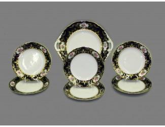 Сервиз для торта 7 предметов Leander Соната Мелкие цветы (Кобальт) декор 0440