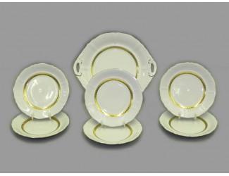 Сервиз для торта 7 предметов Leander Соната Золотая лента декор 1239