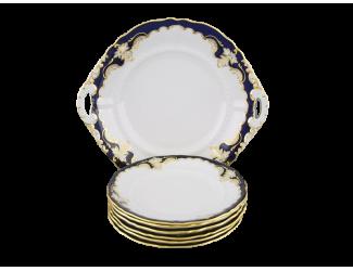 Сервиз для торта 7 предметов с тарелками 17см Leander Соната Кобальтовый орнамент декор 1357 07161017-1357