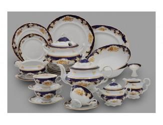 Чайно-столовый сервиз Leander 6 персон 40 предметов Соната, Золотая роза кобальт декор 1457
