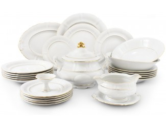 Сервиз столовый 25 предметов 6 персон Leander Соната Отводка золото декор 1139