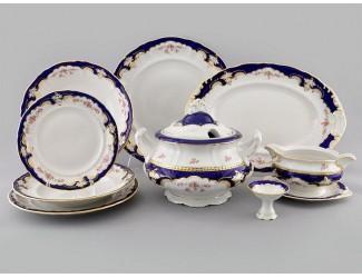 Сервиз столовый 25 предметов 6 персон Leander Соната Бледные цветы, кобальт 1257