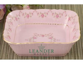 Салатник квадратный Leander Соната 17см мелкие цветы декор 0158 Розовый фарфор