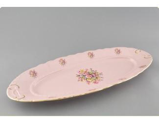 Блюдо овальное 55,5 см Leander Соната , розовый фарфор бледные цветы