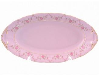 Блюдо овальное 23см Leander Соната Мелкие цветы декор 0158 розовый фарфор