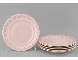 Набор тарелок десертных 6шт 19см Leander Соната , розовый фарфор мелке цветы декор 0158