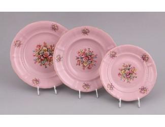 Набор тарелок 18 предметов Leander Соната , розовый фарфор Розовые цветы