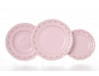 Набор тарелок 18 предметов Leander Соната Мелкие цветы декор 0158 розовый фарфор