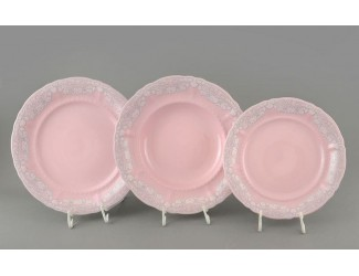 Набор тарелок 18 предметов  Leander Соната, розовый фарфор Серый узор