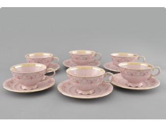 Набор чайных пар на 6 персон 12 предметов 200мл Leander Соната розовый фарфор Мелкие цветы декор 0158