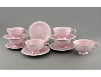 Набор чайных пар Leander розовый фарфор белый узор