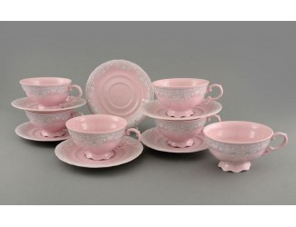 Набор чайных пар 6шт 200мл Leander Соната Розовый фарфор, серый узор