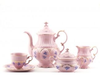 Сервиз кофейный 15 предметов 6 персон с чаш. 0,15л Leander Соната Голубые цветы