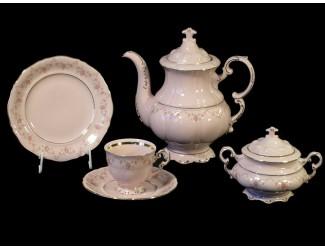 Сервиз кофейный 15 предметов 6 персон Leander Мэри-Энн мелкие цветы декор 0158 розовый фарфор
