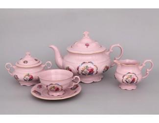 Сервиз чайный 15 предметов 6 персон Leander Соната Розовый фарфор полевые цветы