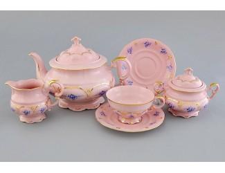 Сервиз чайный 15 предметов 6 персон Leander Соната Голубые цветы, розовый фарфор
