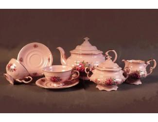 Сервиз чайный 15 предметов 6 персон Leander Соната Розовые цветы, розовый фарфор