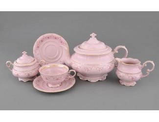 Сервиз чайный 15 предметов 6 персон Leander Соната Мелкие цветы декор 0158 розовый фарфор