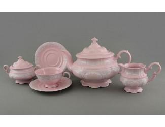 Сервиз чайный 15 предметов 6 персон Leander Соната Розовый фарфор декор 3002 серый узор