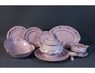 Сервиз столовый 25 предметов 6 персон Leander Соната Голубые цветы 0009, розовый фарфор