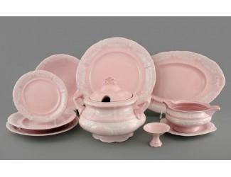 Столовый сервиз Leander на 6 персон 25 предметов, розовый фарфор, белый узор