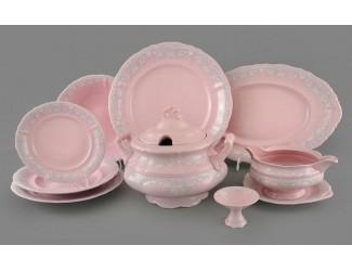 Столовый сервиз Leander на 6 персон 25 предметов, розовый фарфор, серый узор