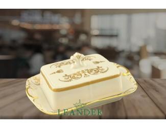 Масленка граненная 0,25кг Leander Соната Золотой орнамент декор 1373 слоновая кость 07522315-1373
