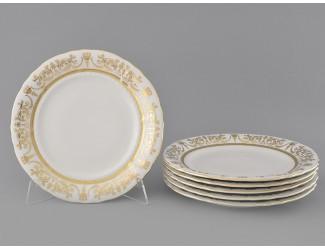 Набор тарелок мелких 6шт 25см Leander Соната Золотой орнамент декор 1373 слоновая кость 07560115-1373