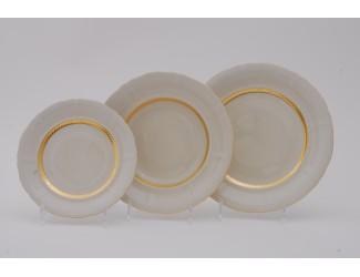 Набор тарелок 18 предметов Leander Соната Золотая лента декор 1239 слоновая кость