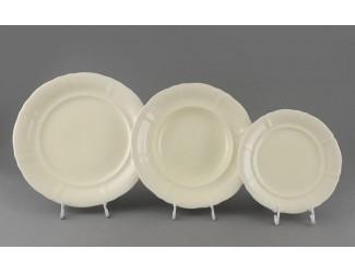 Набор тарелок 18 предметов Leander Соната Белый узор слоновая кость 07560119-3001