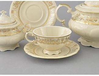 Набор чайных пар на 6 персон 12 предметов 0,2л Leander Соната Золотой орнамент декор 1373 слоновая кость 07560425-1373
