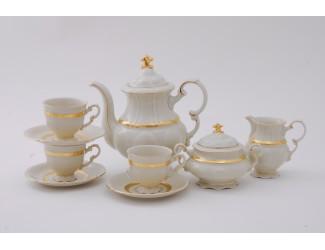 Сервиз кофейный 15 предметов 6 персон 0,15л Leander Соната Золотая лента декор 1239