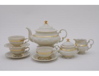 Сервиз чайный 15 предметов 6 персон Leander Соната Золотая лента декор 1239 слоновая кость