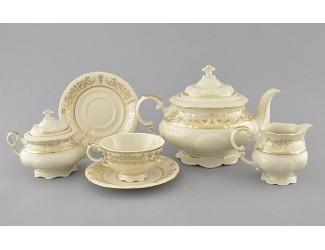Сервиз чайный 15 предметов 6 персон Leander Соната Золотой орнамент декор 1373 слоновая кость 07560725-1373