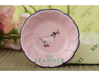Розетка 8см Leander Мэри-Энн Гуси декор 0807 розовый фарфор