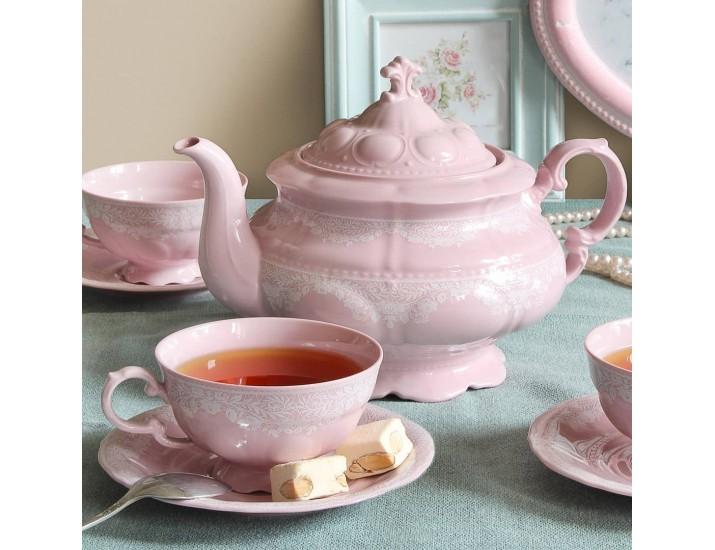 Сервиз чайный 15 предметов 6 персон Leander Соната Розовый фарфор декор 30031 Белый узор
