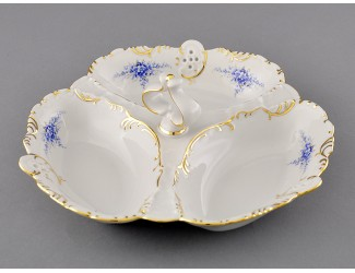 "Менажница ""Кабаре"" 3 секции Leander Соната Голубые цветы декор 0009 38116435-0009"