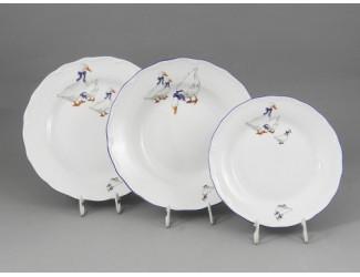 Набор тарелок 18 предметов с десертными тарелками 19см Leander Верона Гуси декор 0807