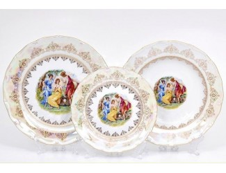 Набор тарелок 18 предметов Leander Верона Мадонна золото декор 1907